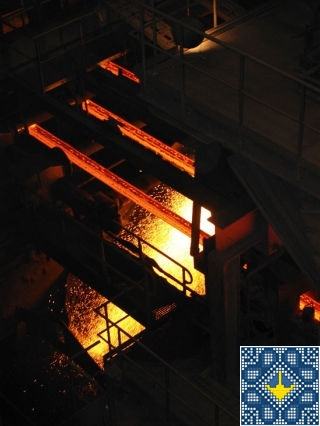 Metallurgical plant ArcelorMittal tour - steel bars cut by gas