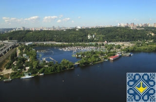 Kiev Helicopter Tour Pictures - Vydubychi Lake, Boat Parking Site, Vydubychi Monastery, Kiev
